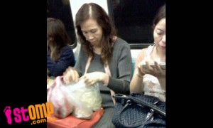 Source :  http://singaporeseen.stomp.com.sg/stomp/sgseen/ugly_commuters/1318478/auntie_picks_beansprouts__on_the_train.html