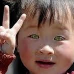 China boy with glowing eyes